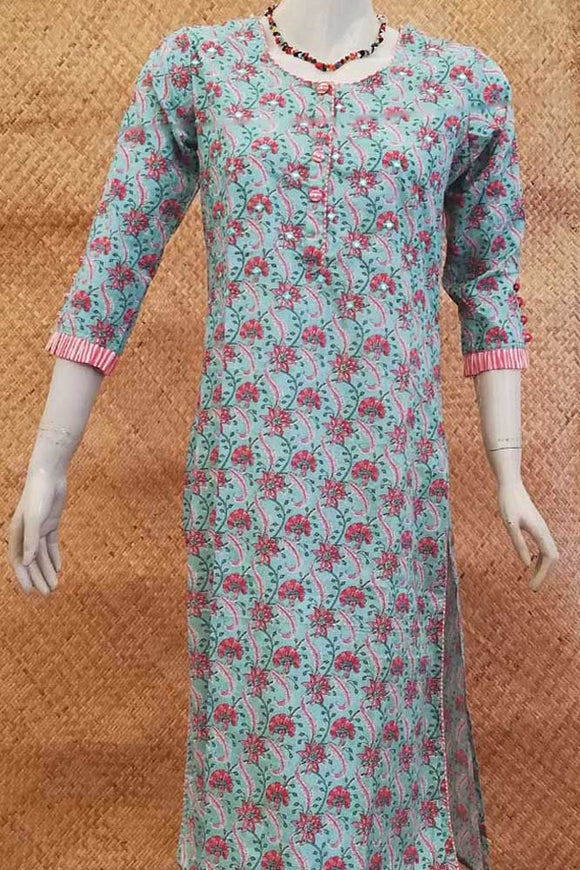 Cotton Kurta with Mirror work &  Stitched Buttons - size 44