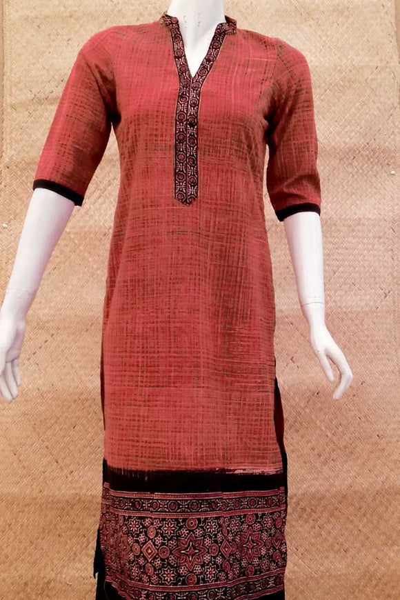 Elegant Block Printed Ajrakh Cotton  Kurta