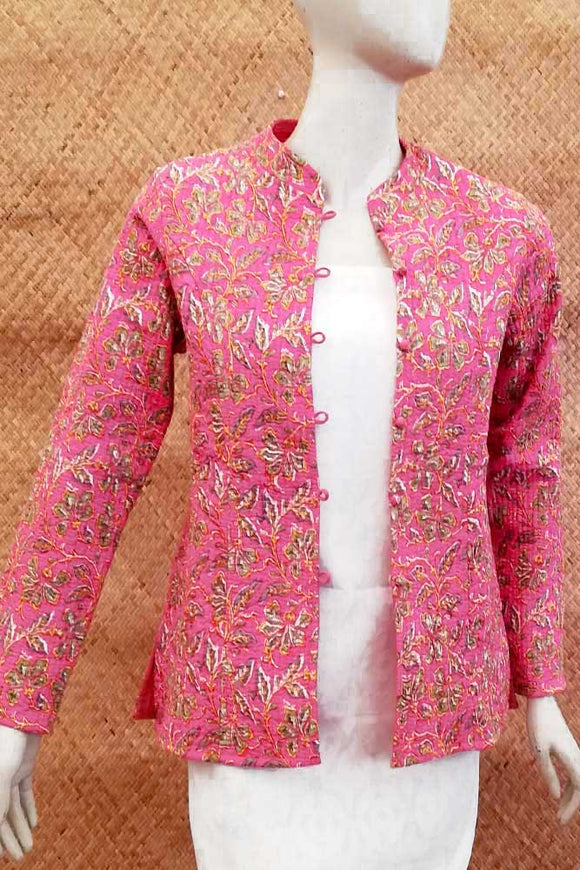 Block Print Quilted Reversible cotton jacket Size- 44