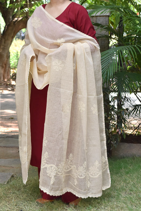 Hand Embroidered Lucknow Chikankari work Kota Doria Dupatta with Crochet borders - Light beige color