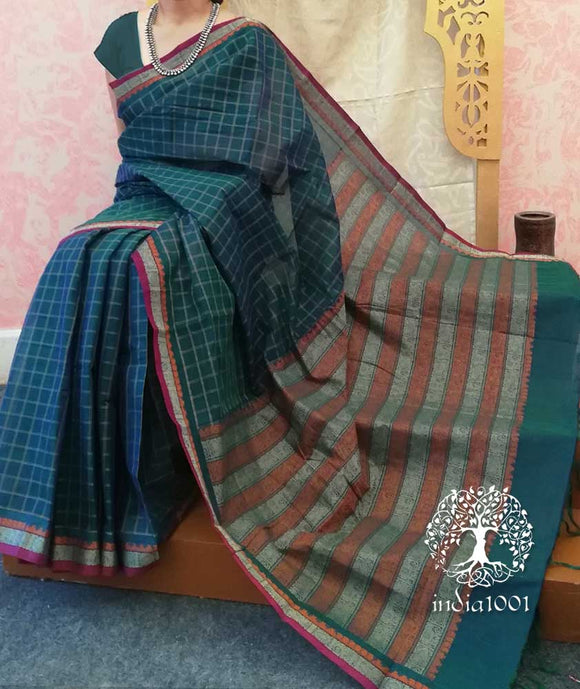 Elegant Woven Muthu kattam Cotton Saree with intricate palla