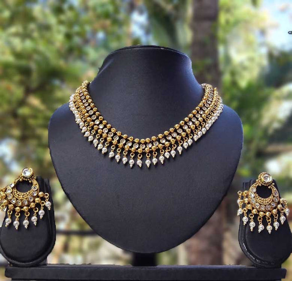 Designer Polki and Pearl Necklace Set