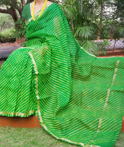 Beautiful Handcrafted Leheriya Kota Silk Saree