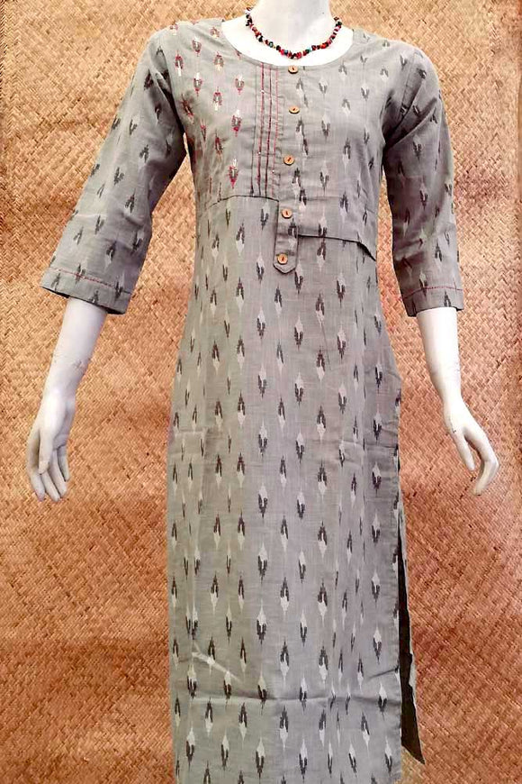 Handloom Cotton Kurta With Ikkat Print