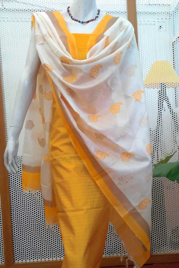 Elegant Embroidered Tussar Silk Dupatta & matching Silk kurta