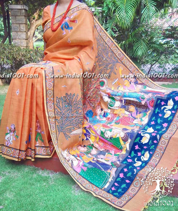 Fine and Elegant Handpainted Pattachitra Art saree