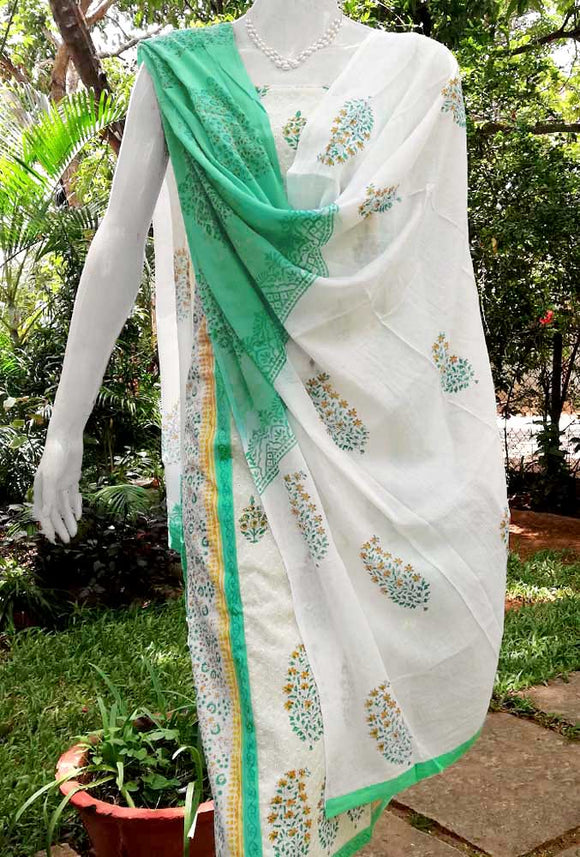 Elegant Block Printed Cotton Suit with Self Embroidery