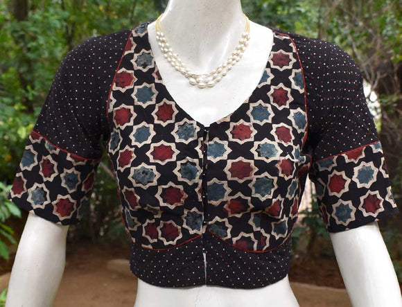Block Printed Ajrakh cotton Blouse - all sizes