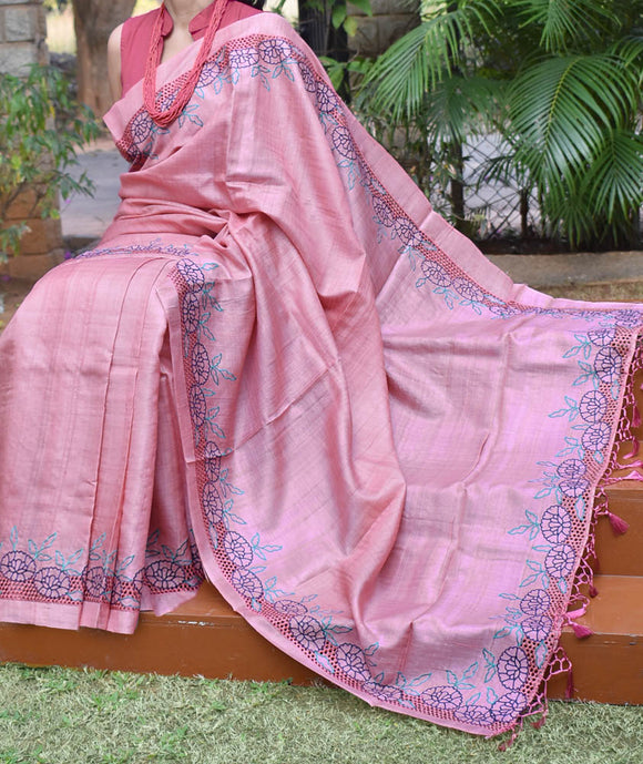 Beautiful Tussar Silk Saree with cutwork &  embroidery