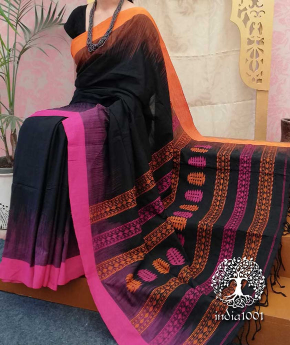 Elegant Bengal Cotton Saree with Woven Jamdani palla