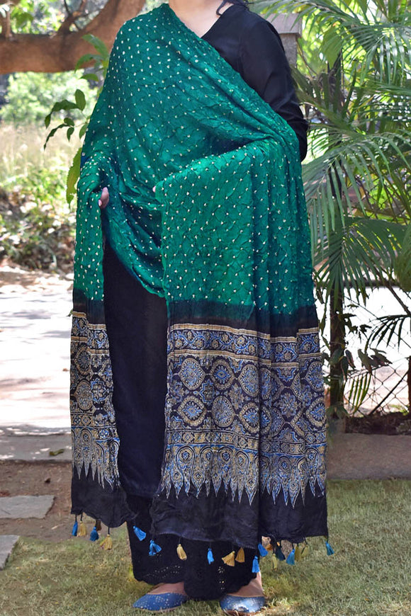 Beautiful Bandhani Ajrakh Modal Silk Dupatta with tassels