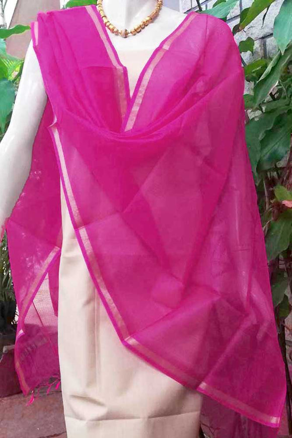 Plain Kota silk dupatta with Zari border