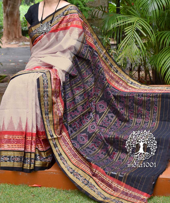 Woven Sachipar Cotton Saree with Temple border from Orissa ( without bp)