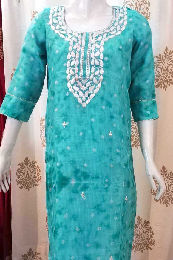Elegant Kota Silk kurta with Hand embroidered Pitta & gota work - Size 42