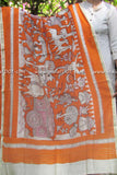Designer Chanderi Cotton Dupatta with Katha Block print
