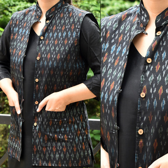 Elegant Ikkat Silk Cotton Sleeveless Jacket