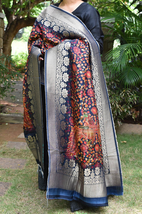 Beautiful Faux Silk Banarasi Dupatta with Kalamkari Digital Print
