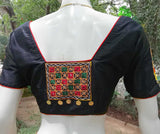 Black Dupion Silk with Kutch Embroidery