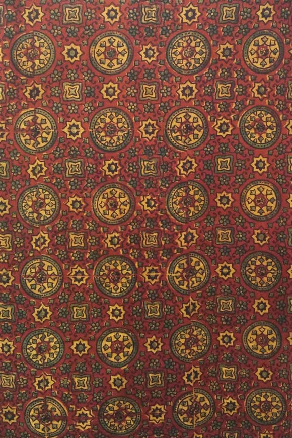 Ajrakh Block Printed Cotton Fabric