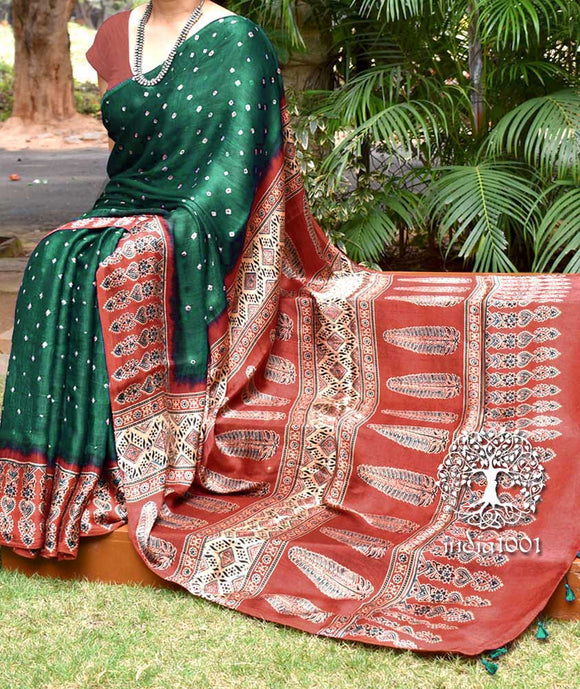 Beatiful Hand-Crafted Modal Silk Ajrakh & Bandhani Saree