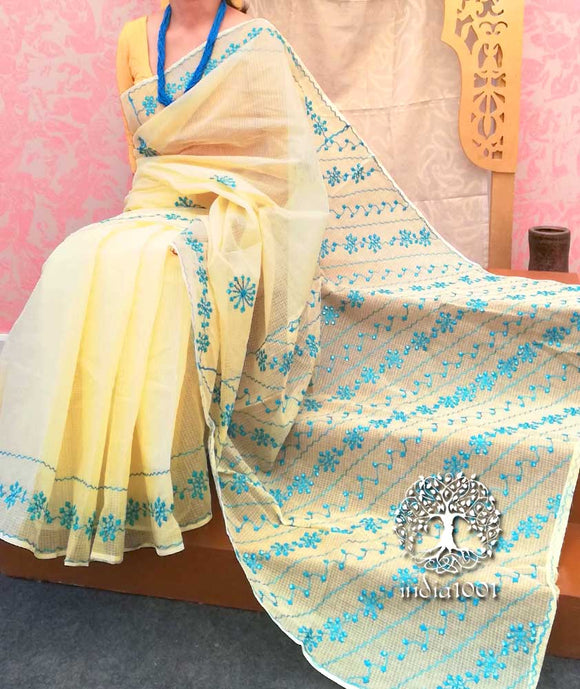 Kota cotton Saree with Aari embroidery & Patti work