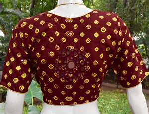 Cotton Bandhani Blouse with hand done mirror work - Size 40