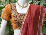 Block Printed Kalamkari & Ikkat Cotton Blouse