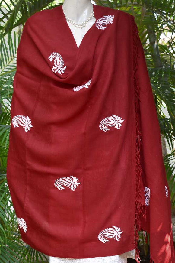 Fine Angora Wool Shawls from Himachal with Chikankari Work