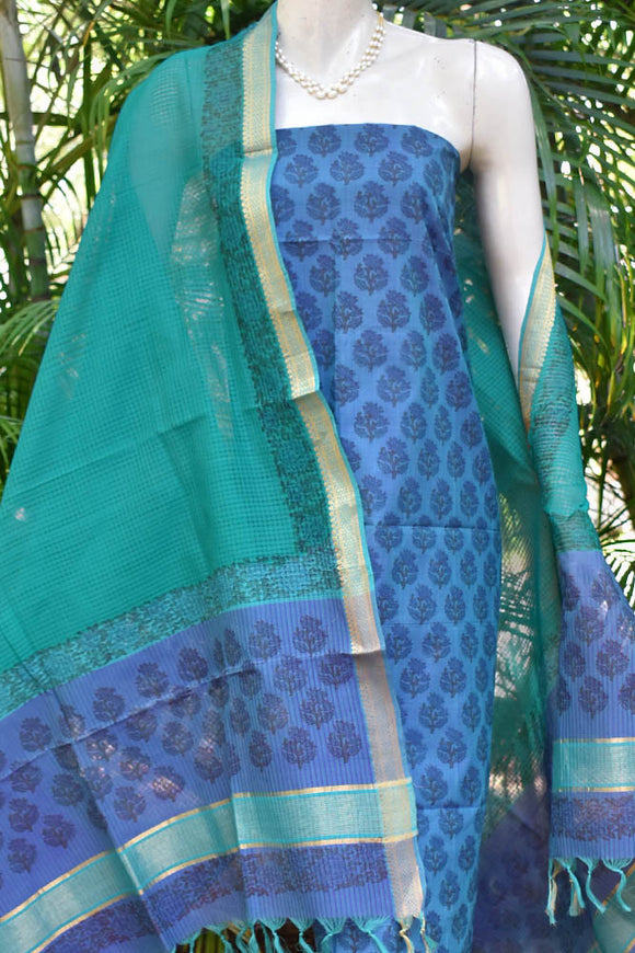 Elegant Handwoven Mangalgiri Cotton suit with Hand block print