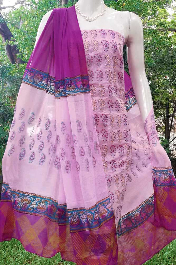 Elegant Block Print Chanderi suit with Pitta work