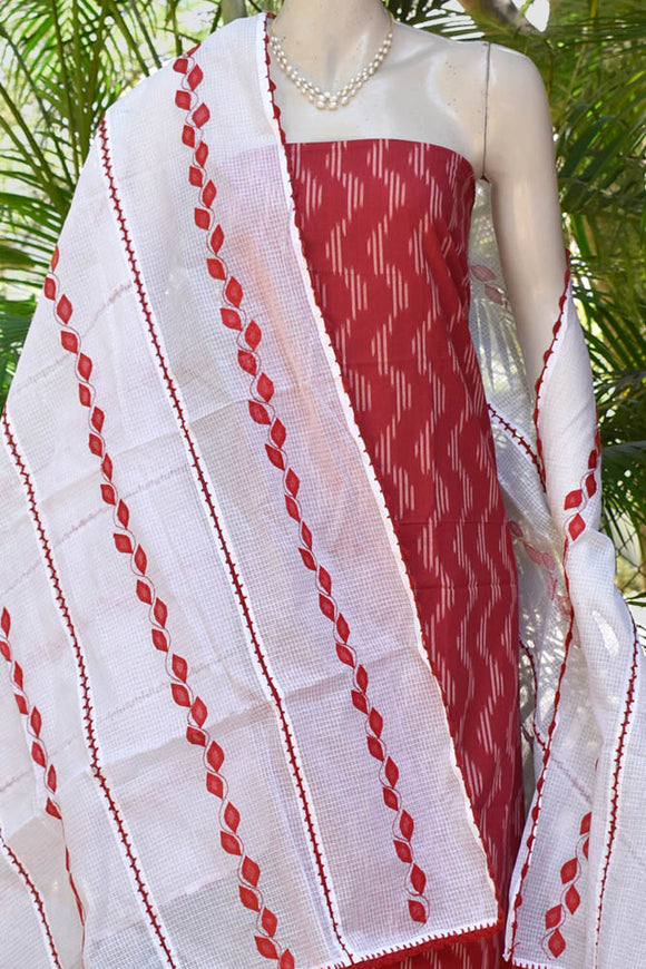 Elegant 3pc Ikkat & Cotton suit fabric with Phool Patti work