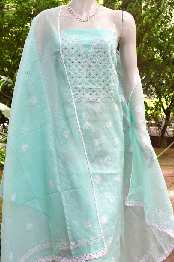 Elegant Kota Kurta & Dupatta Set with Hand Chikankari & Muqaish work