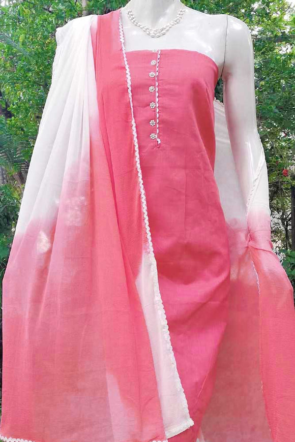 Elegant Cotton Suit with Embroidered Bottom