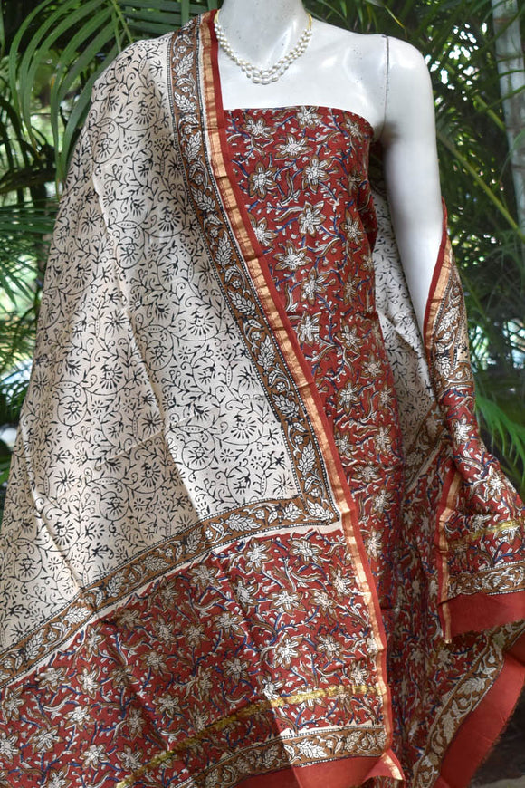 Beautiful Kalamkari Block Printed Chanderi unstitched suit fabric