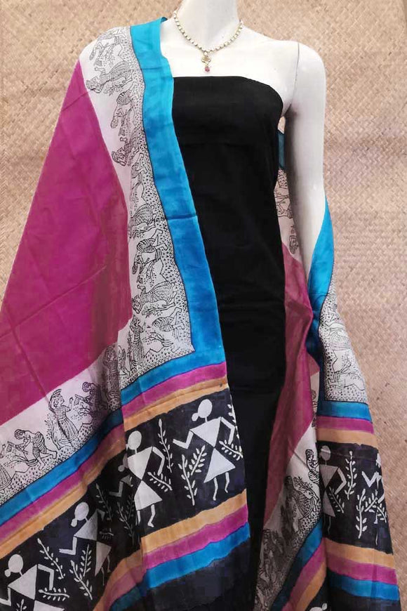 Beautiful Block Printed Tussar Silk dupatta