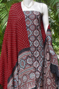 Beautiful Bandhej Ajrakh Modal dupatta with Ajrakh kurta fabric set