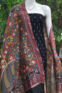 Hand Painted Srikalahasti Kalamkari Chanderi  Dupatta with Woven Ikkat Cotton Kurta