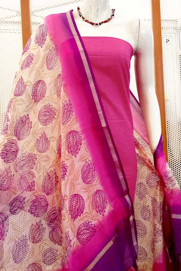 Semi kota Silk Dupatta with Hand Block Print