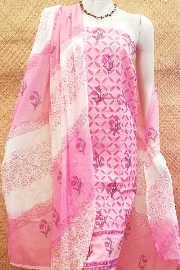 Block Printed Cotton Suit with applique work