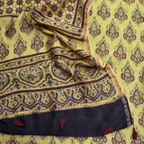 Beautiful Ajrakh Hand block Printed Chanderi sico kurta fabric & dupatta set