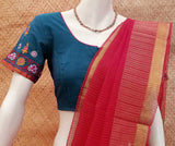 Mangalgiri Cotton Blouse with Kutch Hand Embroidery size - 40