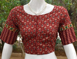 Block Printed Ajrakh cotton Blouse with embroidery Lace - Size 36, 38