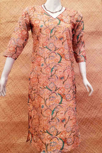 Elegant Silk Cotton  Kurta with Kalamkari print