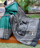 Elegant Geecha Silk Saree with Madhubani Art motifs