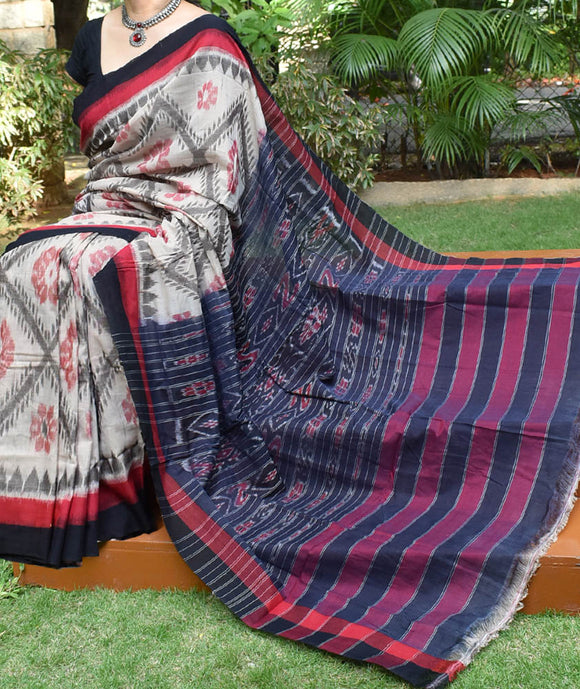 Elegant Handloom Bada Phula Orissa Ikkat Cotton Saree ( without BP)