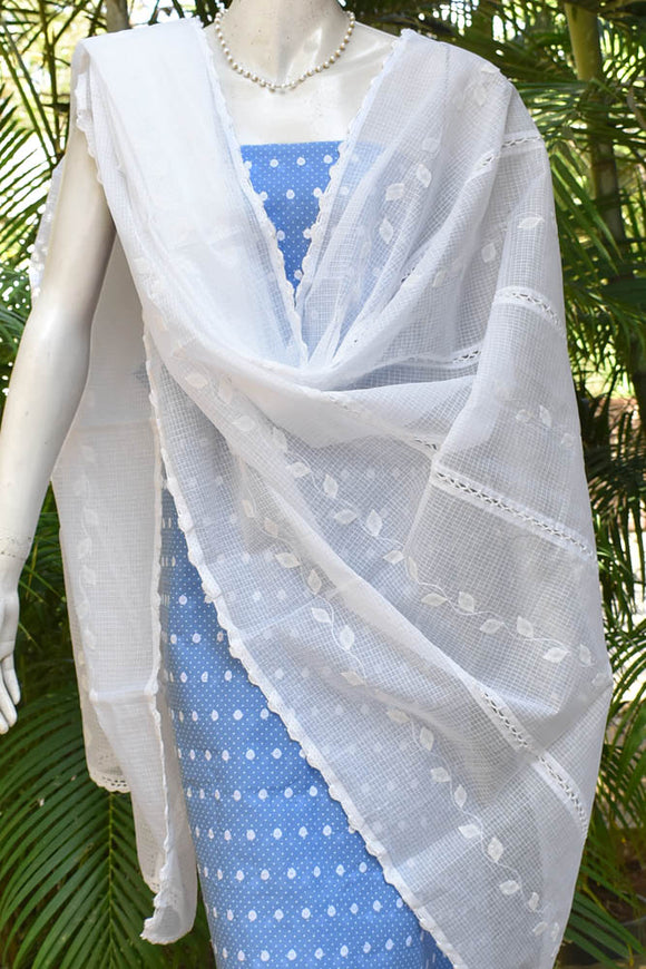 Elegant Unstitched Cotton suit fabric with Applique Dupatta