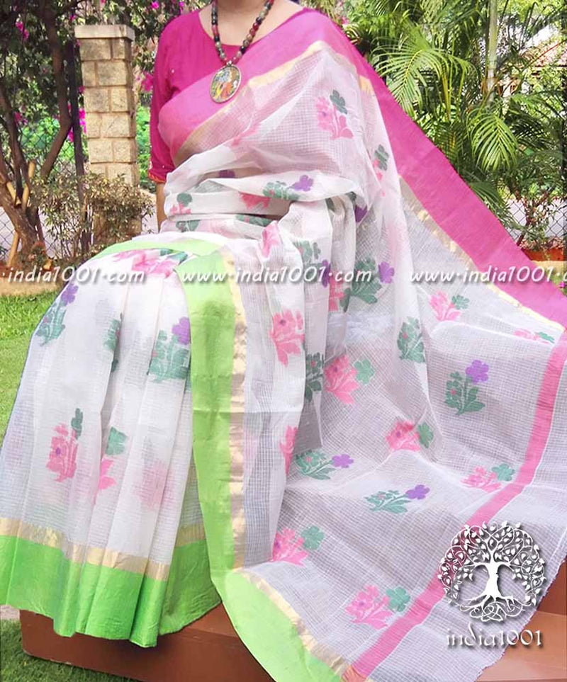 Elegant Kota Cotton Saree with Woven bootis