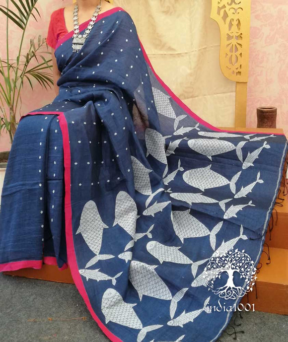 Elegant Linen Saree with woven patterns