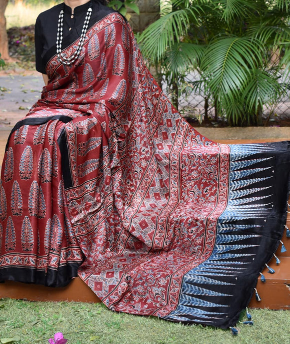 Elegant Hand Block Printed Ajrakh Mashru Silk Saree with tassels