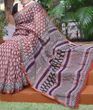 Hand Block Printed Kota cotton Saree with zari border